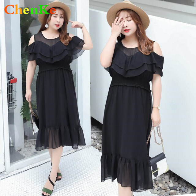 eac4a050e5a ChenKe 2018 New Brand Trend Spring Summer Dress Women Clothing Classic  Black Dress Plus Size Dresses Big Size Fat clothing