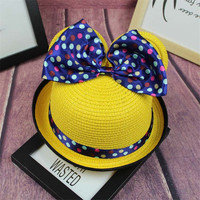 New Arrival Baby Girls Summer Sun Straw Hats Casual Cute Big Bow Tie Detailing Girls Fashion