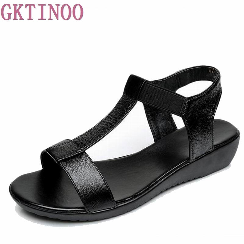 GKTINOO Genuine Leather Sandals Women Flat Heel Sandals Fashion Summer Shoes Woman Sandals Summer Plus Size 35-43 Free Shipping baby stroller babyruler ultra light portable four wheel shock absorbers child summer folding umbrella cart