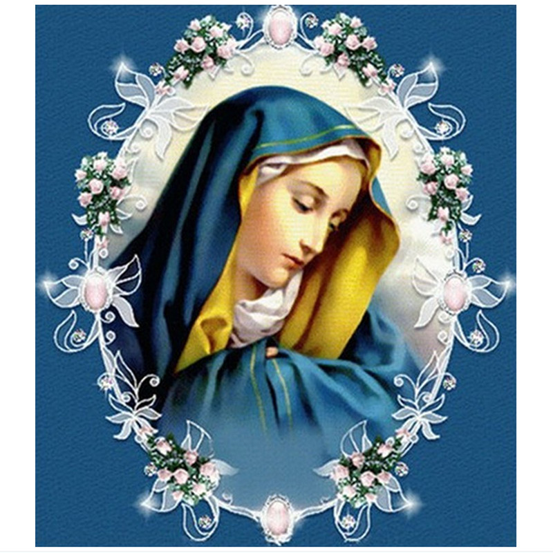 DIY diamond painting cross stitch retail 3D square resinrhinestone pasted full dill embroidery Virgin Maria free shipping
