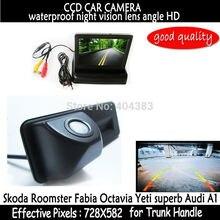 4.3 дюймов Монитор Зеркала Автомобиля + HD CCD вид сзади автомобиля Багажник ручка Камера для Skoda Roomster Yeti superb Octavia Fabia для Audi A1