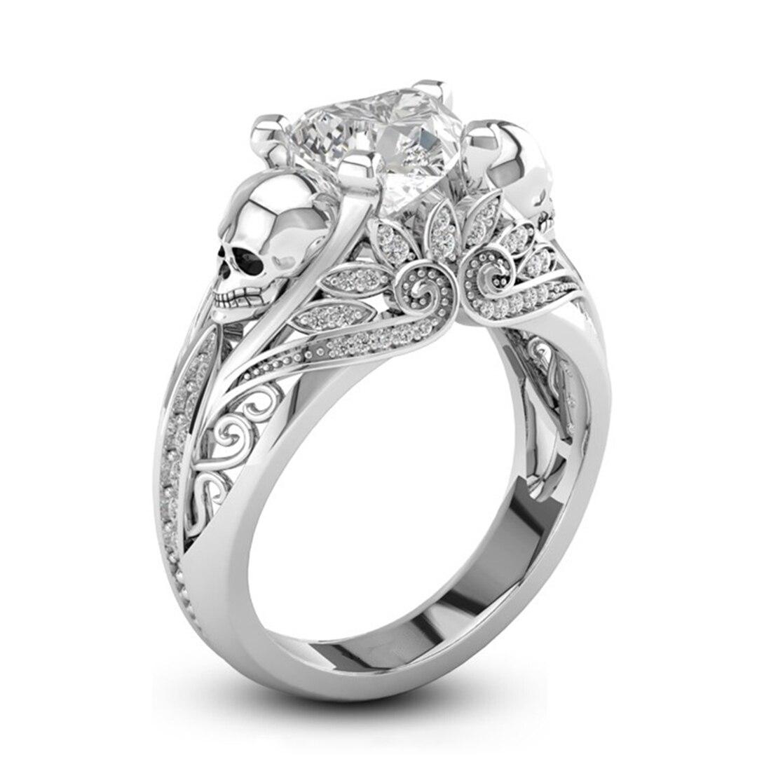 Heart Shape CZ Stone Silver Punk Skull Promise Ring For