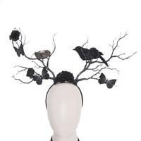 Gothic Halloween Headpiece Butterfly Crow Nest Rose Twig Antlers Headband Forest Dark Witch Masquerade Costume Headdress Prop
