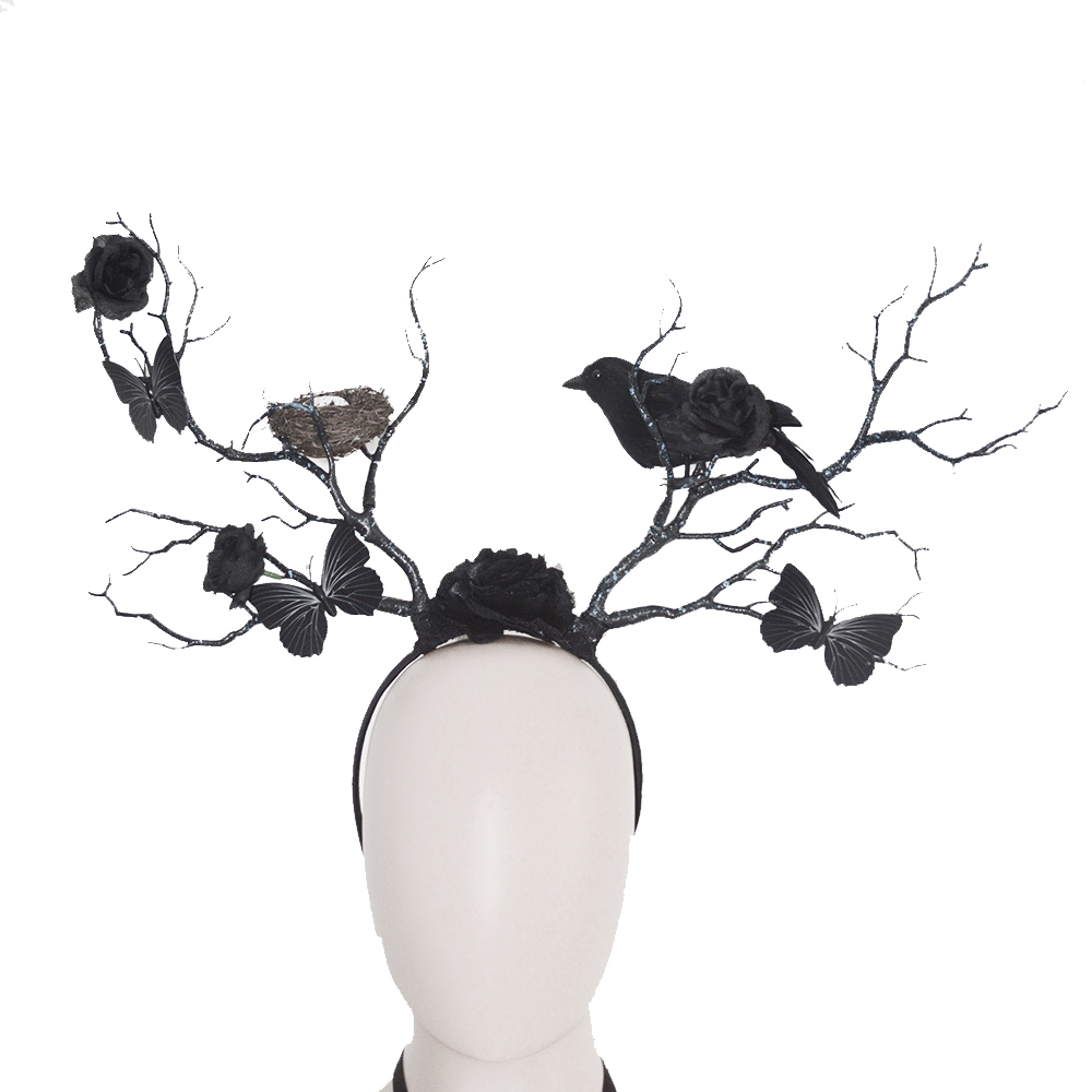 Gothic Halloween Headpiece Butterfly Crow Nest Rose Twig Antlers Headband Forest Dark Witch Masquerade Costume Headdress Prop