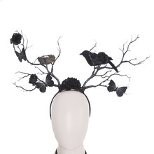 Gothic Halloween Headpiece Butterfly Crow Nest Rose Twig Antlers Headband Forest Dark Witch Masquerade Costume Headdress Prop(China)