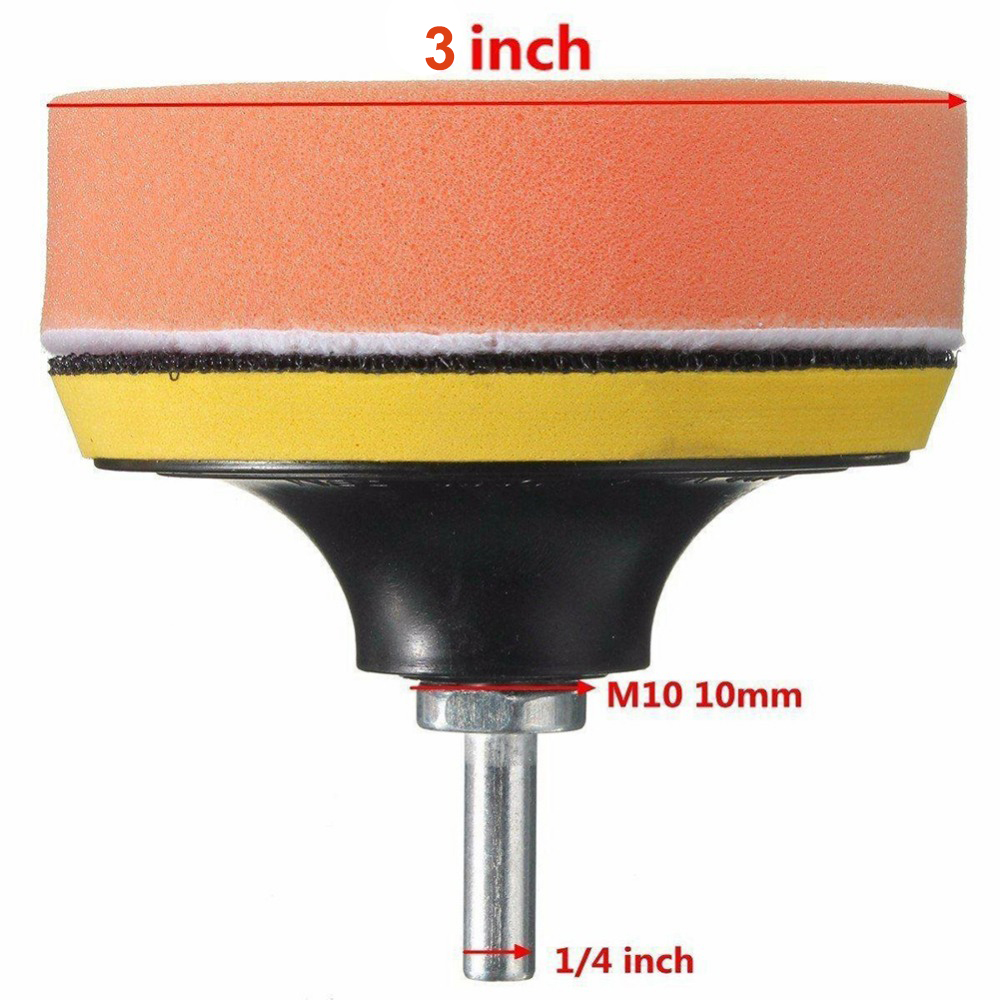 Image 5 - 6Pcs Buffing Pad Set Thread 3 inch Auto Car Polishing pad Kit for Car Polisher + Drill Adaptor M10 Power Tools accessories-in Polishing Pads from Tools