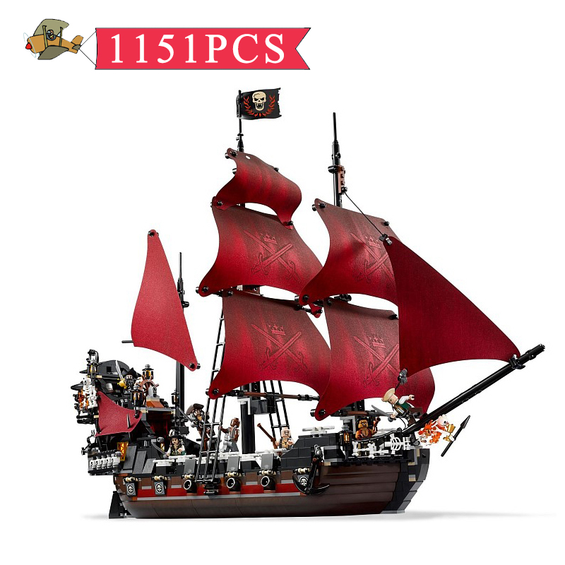 Model Building Blocks Toy Queen Anne's revenge Pirates of the Caribbean Assembled set DIY Classic Children Building Bricks Toys