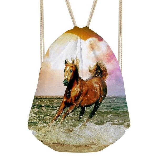 Noisydesigns Dropshipping 2018 Cool Crazy Horse Drawstring Backpack Mimi Girls 3d Animal Travel Bagpack Rucksack Shopper Bag