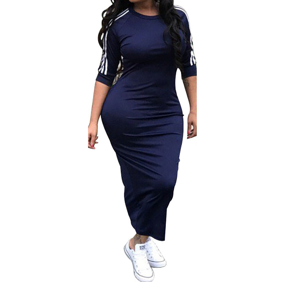 HAOOHU <font><b>Work</b></font> Summer Style Women Bodycon <font><b>Dresses</b></font> <font><b>Sexy</b></font> <font><b>2018</b></font> New Arrival Casual Crew Neck Half Sleeve Midi <font><b>Dress</b></font> image