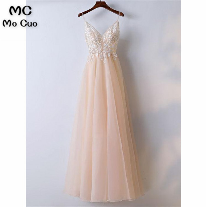 2019 Simple Prom Dresses Long With Lace Spaghetti Straps V-Neck Dress For Graduation Tulle Formal Evening Party Dress For Women