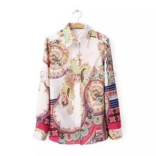 Nice Autumn Fashion Floral Print Cotton Blouse Elegant Long Sleeve Lapel Shirt Casual Loose Show School Shirt  CJ4111