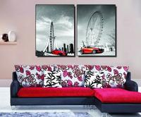 Zero Profit 2pcs Modular Pictur The Red Roadster The Ferris Wheel Modern Decorative Painting The Sittingroom