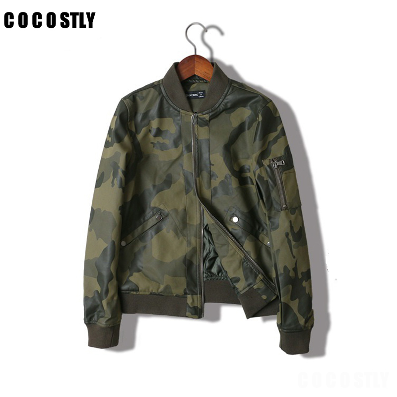 Leather   Jacket O-Neck Long Sleeve Camouflage Jacket Women Bomber Jacket Casual Camouflage Biker Jackets Outwear