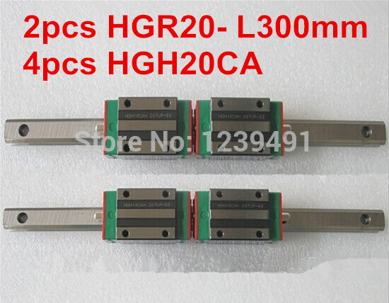 2pcs HIWIN linear guide HGR20 -L300mm with 4pcs linear carriage HGH20CA CNC parts free shipping to argentina 2 pcs hgr25 3000mm and hgw25c 4pcs hiwin from taiwan linear guide rail