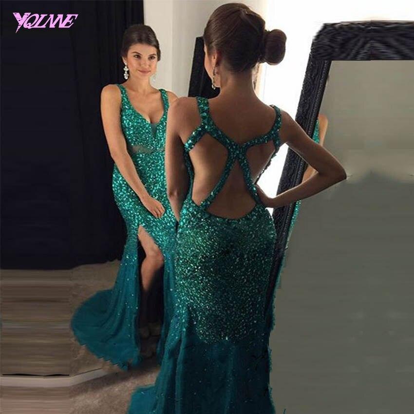 YQLNNE 2018 Golden Long Mermaid Prom Dresses Bling Rhinestones Evening Party Gown Vestido de Formatura Longo 1