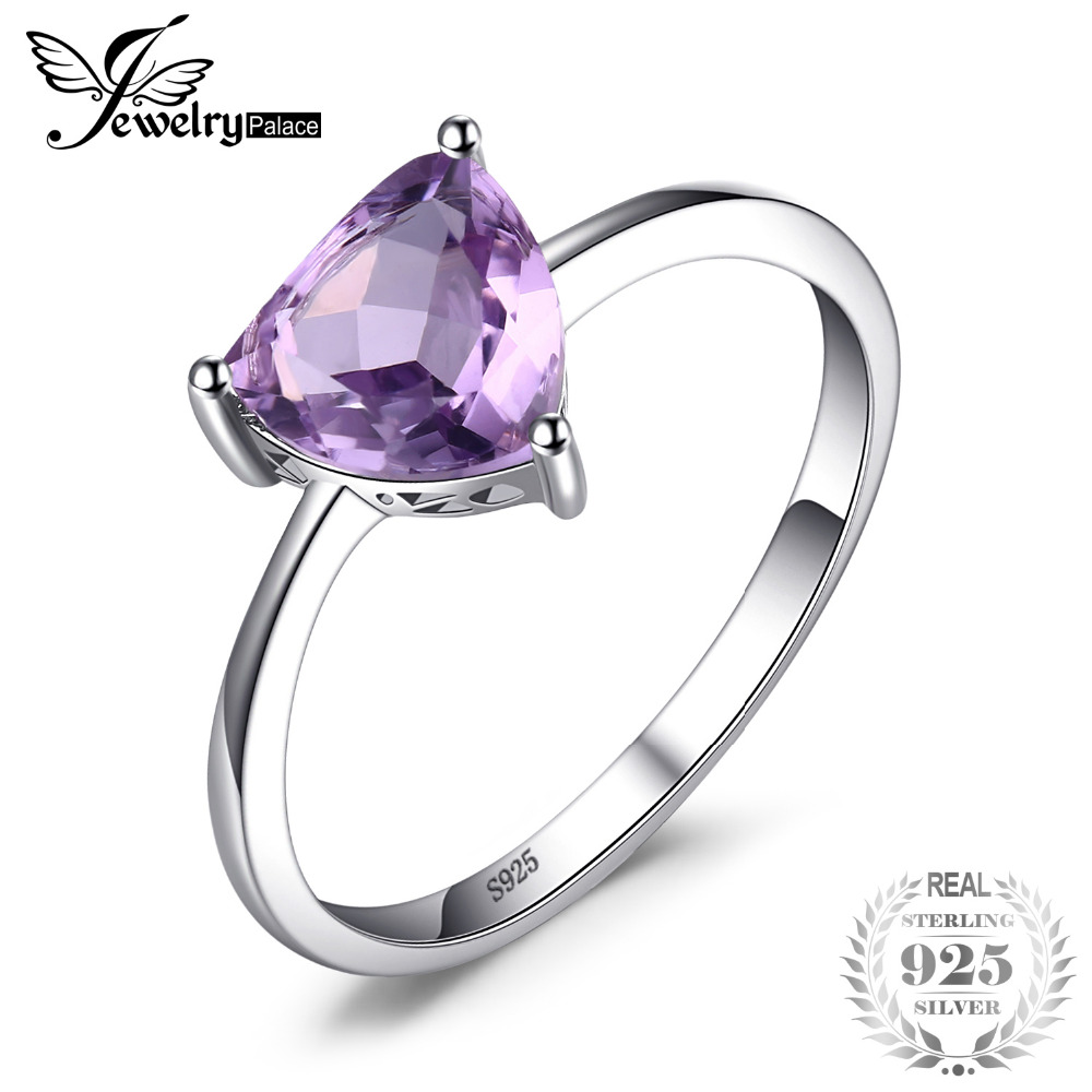 JewelryPalace Trillion 1.1ct Natural Purple Amethyst Birthstone Solitaire Ring Genuine 925 Sterling Silver wrnM259DlT