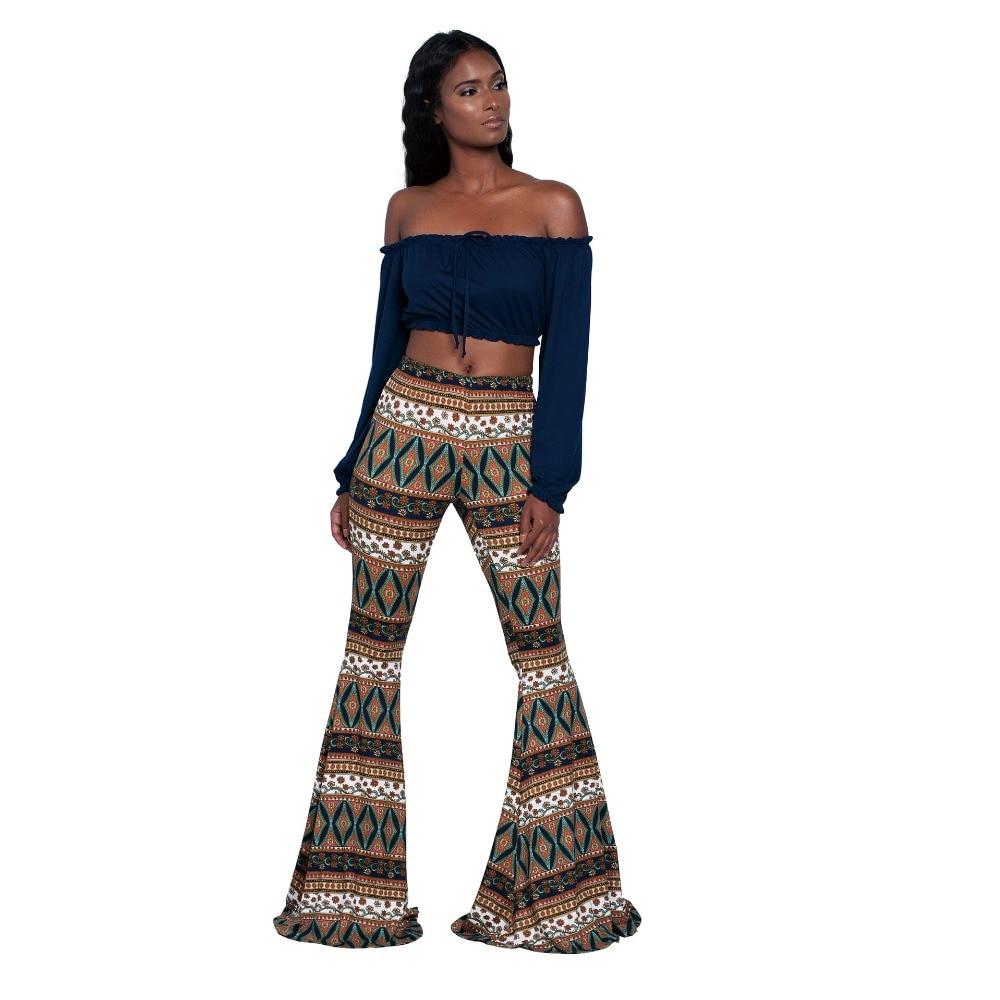 28fd8c4b697f 2019 Été Cru Ethnique Imprimer Flare Pantalon Femmes Taille Haute Pleine  Longueur Pantalon Pantalon Casual Pantalones Streetwear Femme dans Pantalons  et ...