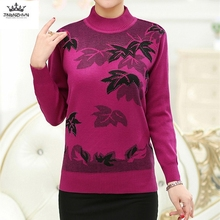 Knitted Sweater Autumn Winter Large size Pullover Loose O-neck Long sleeves Printing Casual Color Many New Fashion Women Sweater
