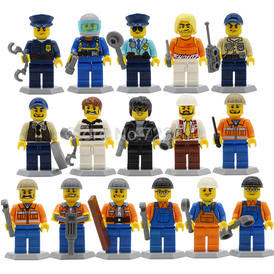 цена на 8pcs/lot City Occupation Block set Police Construction worker MOC Building Blocks Sets Models Bricks Kit Toys for Children