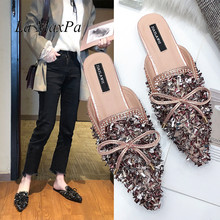 Brand Designers Comfortable Crystal Bowknot Spring Autumn Shoes Woman Pointed toe Flat Slippers Slides Mules Flip Flops 2019