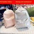 Nueva Moda Mochilas de Viaje Para Teenage Girls School Bag PU de Las Mujeres a prueba de agua Simple Mochila de color mini Lentejuelas mochila