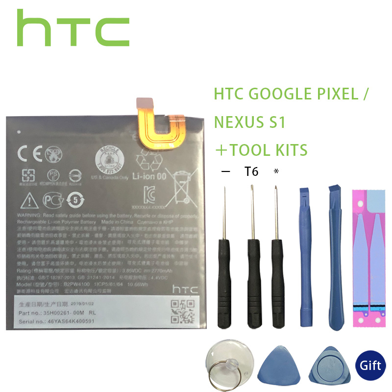 Original Battery B2PW4100 2770mAh Battery For HTC Google Pixel / Nexus S1 Batteries Batteria+Tools +Stickers