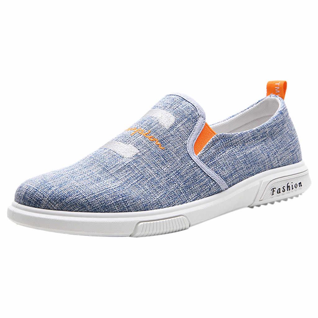 2019 zapatos de moda para hombres transpirable zapatos de punta redonda zapatos de ocio salvaje parte superior de lona zapatos de zapatillas de deporte hombre Dropshipp # BY20