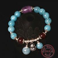 Amxiu DIY Natural Stones Charm Bracelet 925 Sterling Silver Bracelet Handmade Beads Spring Bracelets Bangles For Women Jewelry