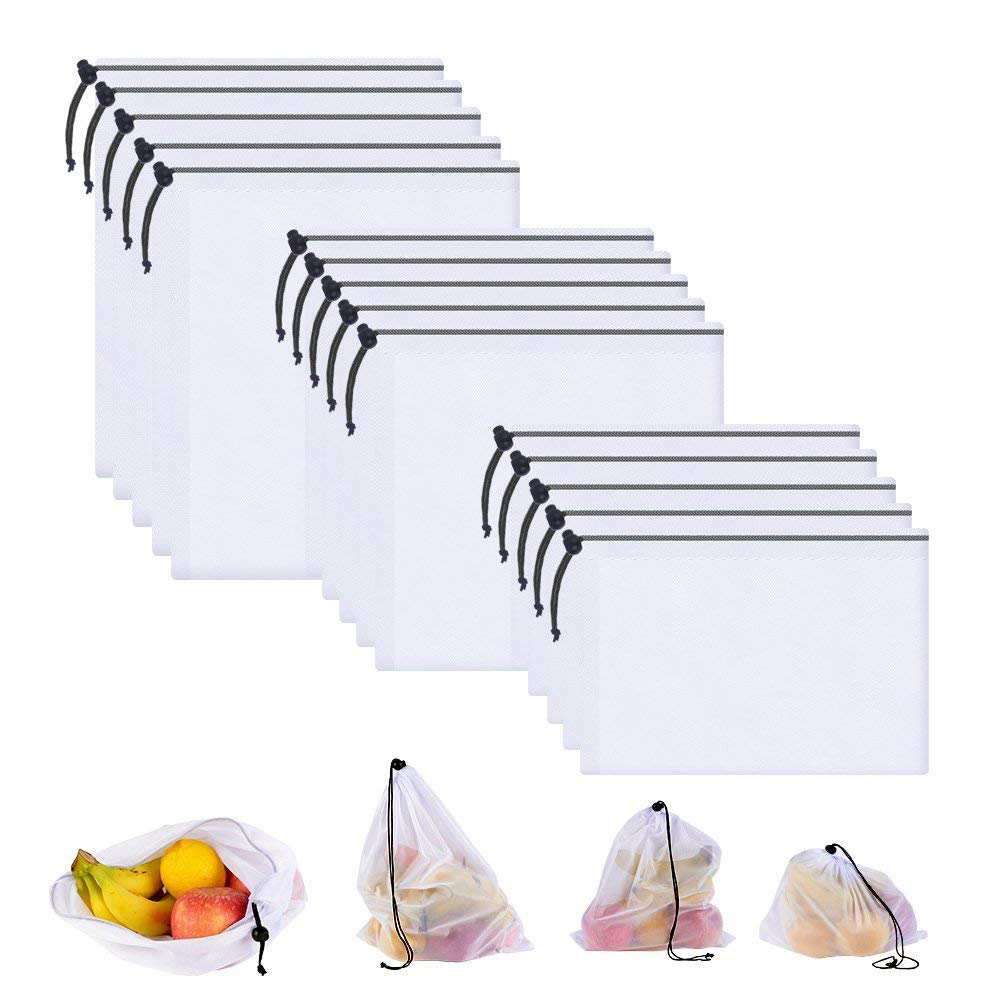 DCOS 15pcs Eco Friendly Reusable Mesh Produce Bags, Transparent Washable Grocery Mesh Bags For Storage Fruit Vegetable