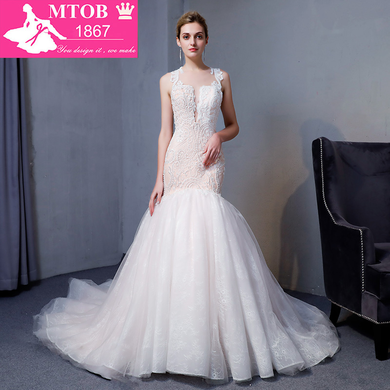 Fashionable Elegant Mermaid Wedding Dress 2019 Sexy Luxury Champagne Vestido De Casamento Sheer Vintage Bride Gowns