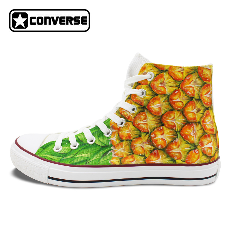 Pineapple Canvas Skateboarding Pumps Men Women Converse Hand Painted Shoes Fruit High Top Sneakers Chucks Taylor hand painted skull flower converse chucks men women skateboarding shoes floral canvas sneakers high top flats