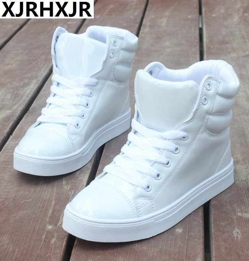 35-44 Women Fashion Sneakers High Top Lace Up Platform Casual Shoes Flat Heel Shoes Woman Brand Patent Leather Shoes Lovers