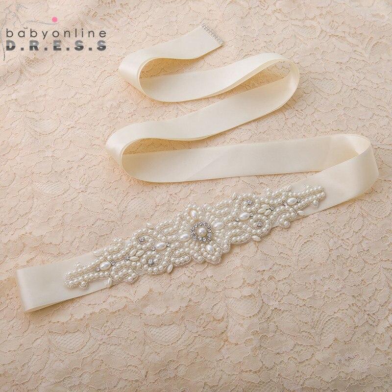 Belt Wedding-Dress Ribbon Sash Satin Pearls Novia White Cinturon Hand-Made Beige Babyonline