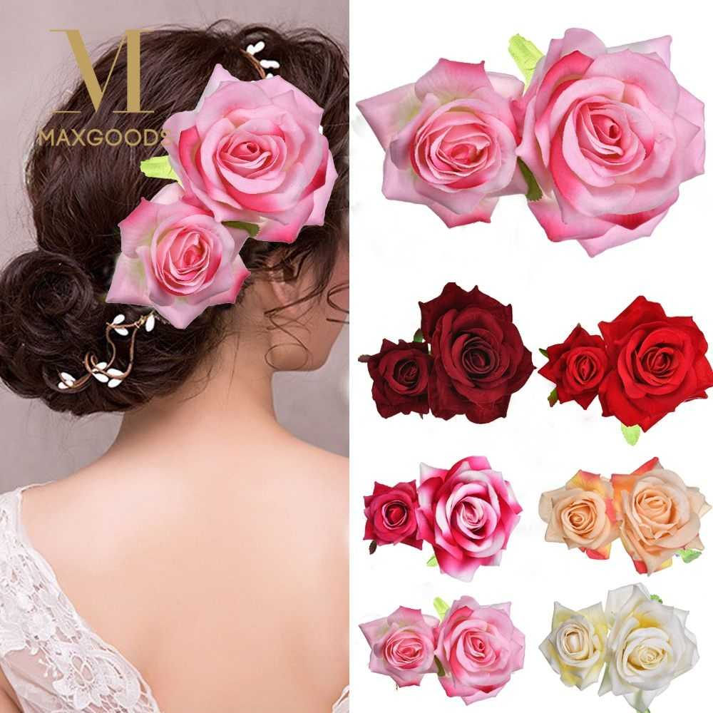 1Pcs Trendy Rose Flower Hairpin for Bridal Bridesmaid Hair Clip Wedding Party Hair Accessories