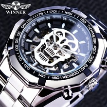 Winner 2019 Black Silver Clock Steampunk Skull Design Luminous Hands Automatic Transparent Watches for Men Top Brand Luxury