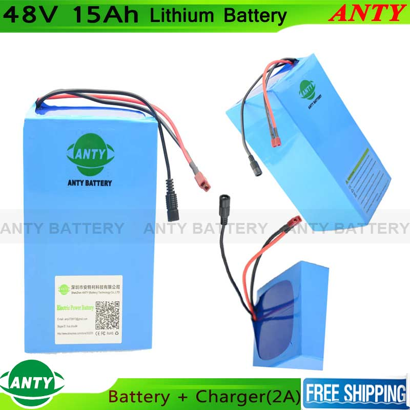Electric Bike 48V 15Ah Battery 700W Lithium Battery Pack 48V And 2A Charger 15A BMS eBike Scooter 48V 18650 Rechargeable Battery free customes taxes 48v 2000w electric bike battery 48v 35ah lithium ion battery pack for electric bike with charger bms