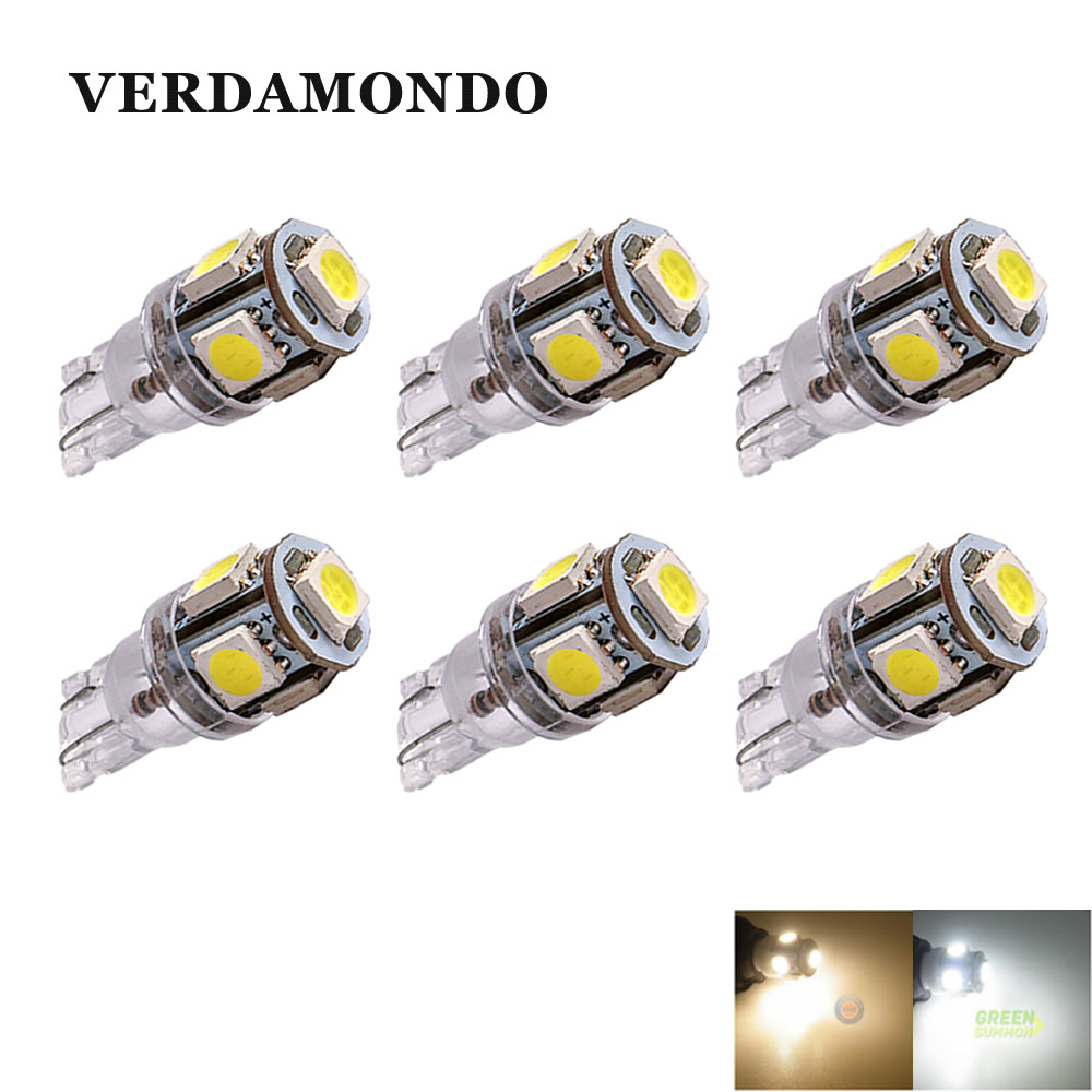 6x T10 W5W 194 168 Lamp 5-SMD 5050 LED MAKER DOME Interior Wedge White Warm White Lights 6000K Bulbs For Truck DC 24V