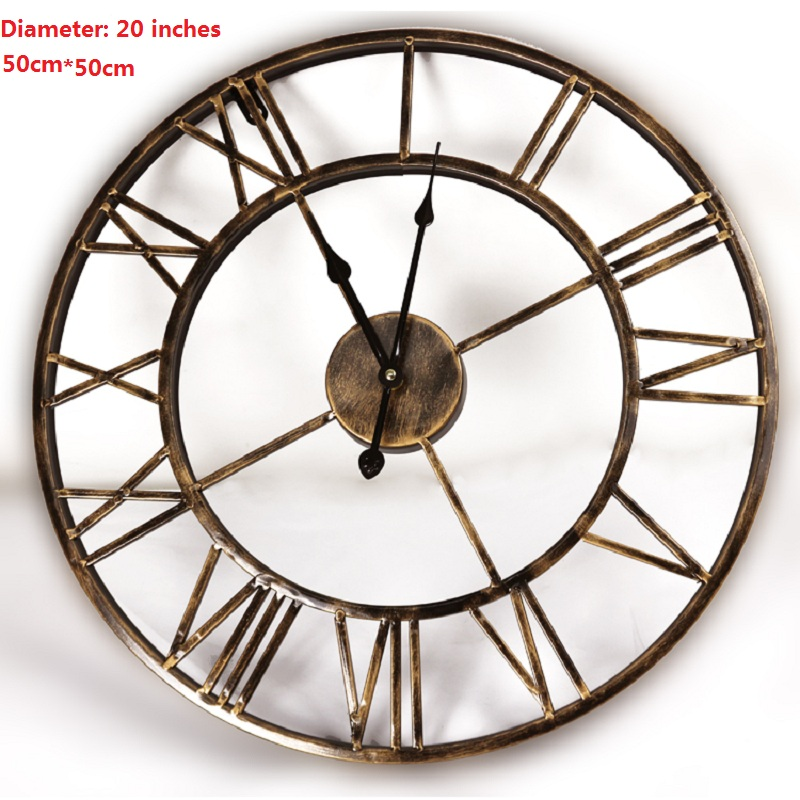 18 inches Antique Metal Wall Clock with Bronze Finished Artificial