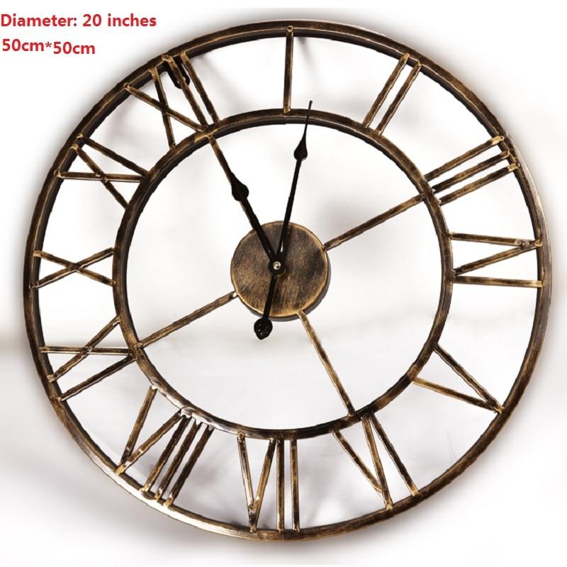20 pouces bricolage vintage 3d grande horloge murale en fer forgé