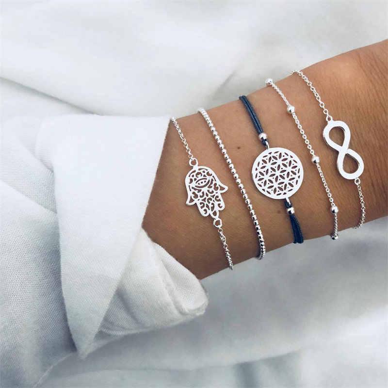 NEWBUY 5 pièces/ensemble mode creux paume ronde 8 forme infini breloque bracelets pour femme fille Vintage argent couleur perles Bracelet