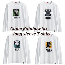 Game Rainbow Six Siege A T-shirt with long sleeves cotton round collar T-shirt white men and women in the summer E-sports games(China)