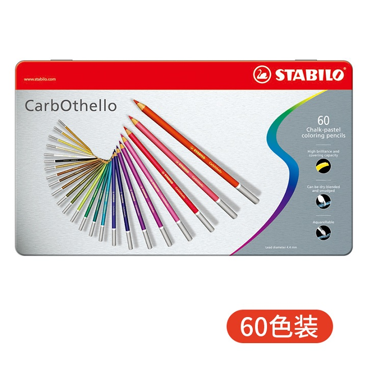 12-Color Set Stabilo CarbOthello Chalk-Pastel Colored Pencil 4.4 mm
