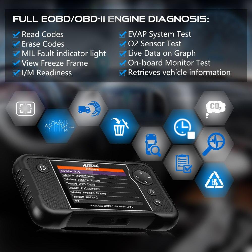 Image 3 - ANCEL FX2000 OBD2 Automotive Scanner ABS Airbag Transmission Professional OBD2 Car Diagnostics Multi Language Free Update Online on