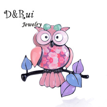 New Owl Brooch Enamel Fashion Girls Brooches Pins Zinc Alloy Brooches for Women Cartoon Cute Animals Classic Jewelry Accessories цена