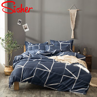 Sisher Adult Bed Linen Set Blue Red Geometric Duvet Cover Bedding Sets Size Single Double Queen King Parure De Lit