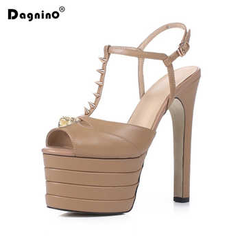 DAGNINO 2019 Genuine Leather Platform Peep Toe Women Shoes Woman Sandals T-strap Super High Heels Wedding Shoes Big Size 33-42 - DISCOUNT ITEM  35% OFF All Category