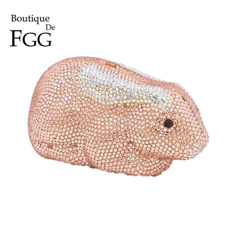 Boutique De FGG Champagne Crystal Women Rabbit Bunny Evening Clutches Bag Bridal Handbag Wedding Party Prom