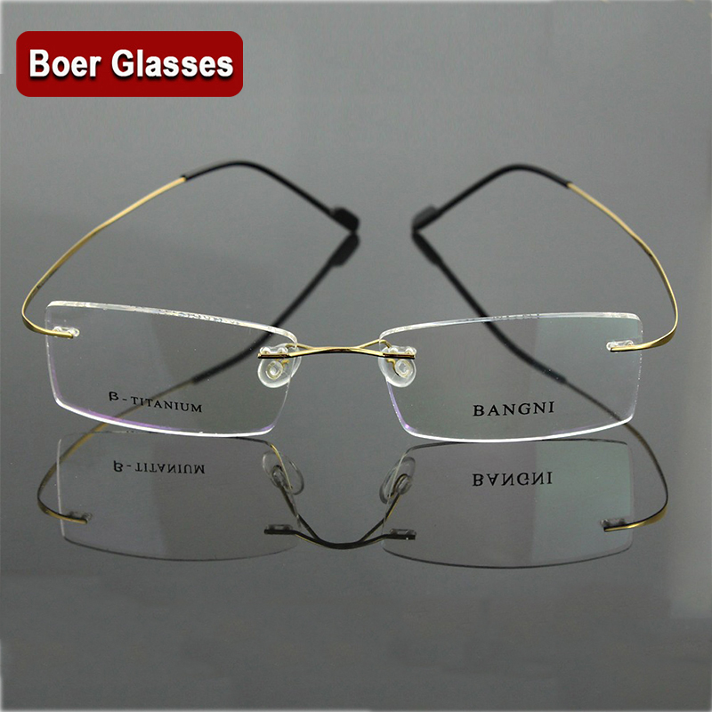 B Titan Hingeless Rimless Non-Screw Pure Titan Flexible Brillen Brillen Prescription Spectacle Optical Frame 1004