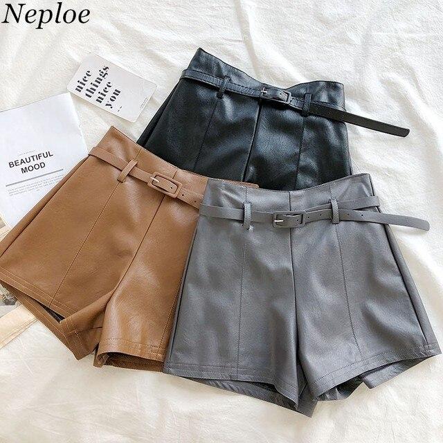 2f18aa9bd Neploe PU Solid Sashes Hot Shorts Zipper High Waist Korean Fashion Women  Short 2018 Autumn New Fashion Lady Short 68502