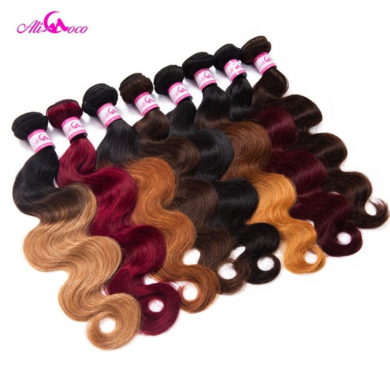 Mèches Body Wave indiennes 100% naturelles-Ali Coco | Cheveux Non Remy ombré, Extensions capillaires, lot de 1/3/4, livraison gratuite